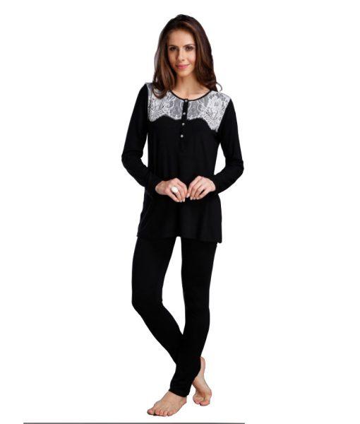 Pijama Polo com Renda