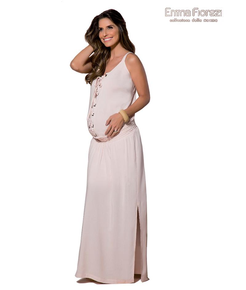 9135ad753 Vestido Longo Amamentação com Abertura - Belly Home - Loja Online
