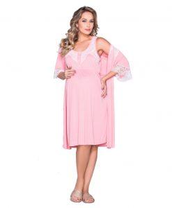 Conjunto Camisola e robe rosa
