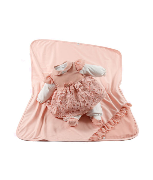 Kit Maternidade Manta Vestido Macacão Julia Rosa - Belly Home - Loja ... 35395f8e440