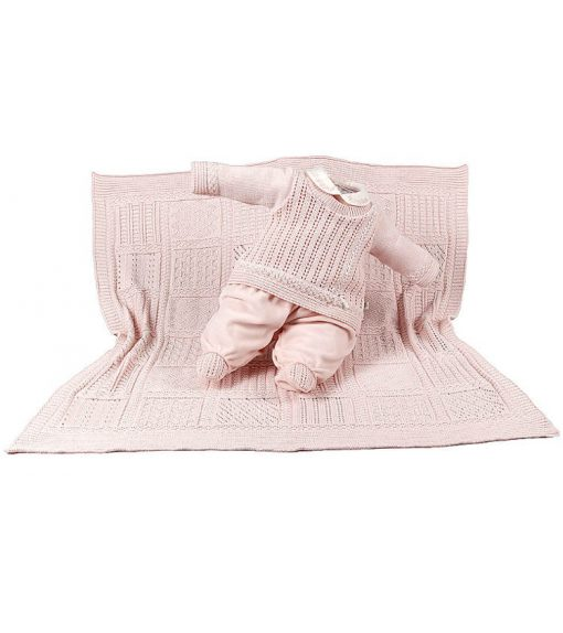 Kit maternidade tricot macacão e manta menina rosa