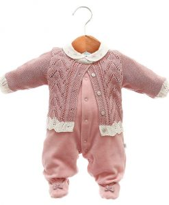 Macacão com casaco tricot menina rosa