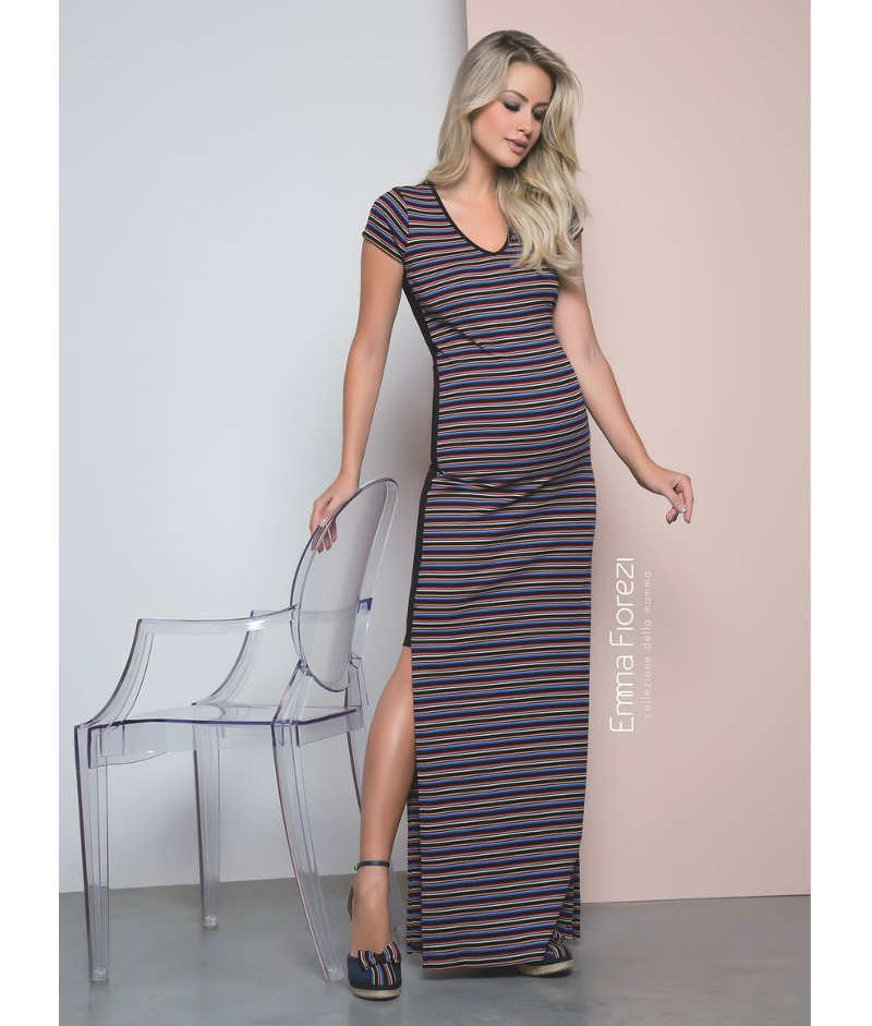 ac88f2c89 Vestido Decote V Listrado - Belly Home - Loja Online