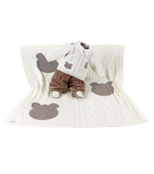 Kit maternidade tricot manta e macacão menino cru
