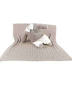 kit maternidade tricot manta e macacão menino kaki