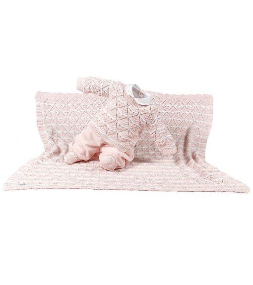 Kit maternidade macacão e manta menina rosa