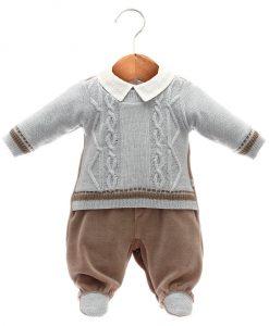Macacão tricot menino azul