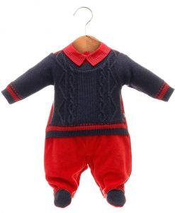 Macacao tricot menino vermelho