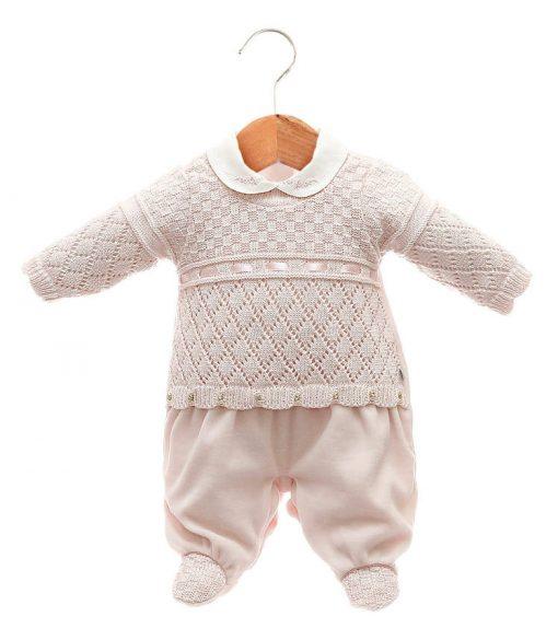 Macacão tricot menina rosa