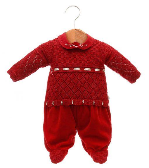 Macacão tricot menina vermelho