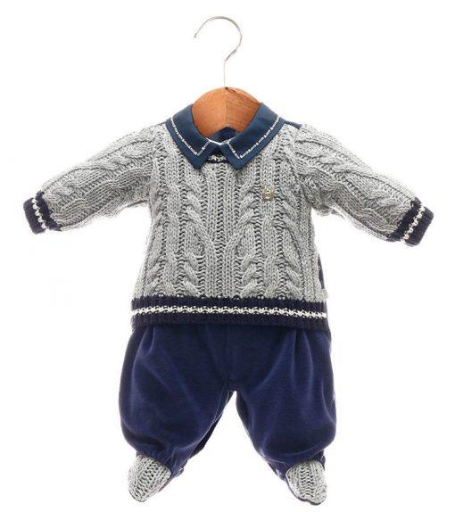 Macacão tricot menino cinza