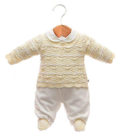 Macacao tricot menina amarelo