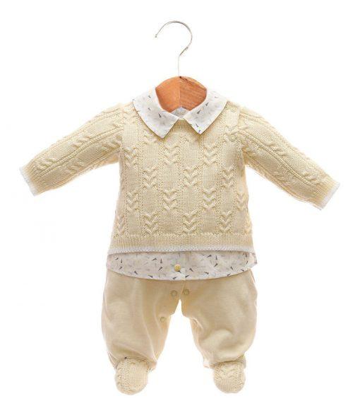 Macacão tricot menino amarelo
