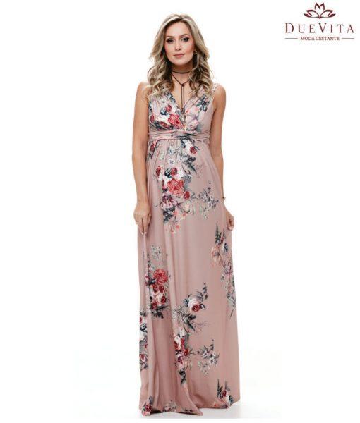 Vestido longo drapeado gestante