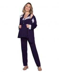 Pijama com renda gestante