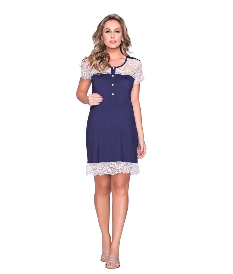 f3220410d Conjunto Camisola com Renda e Robe Azul Marinho - Belly Home - Loja ...