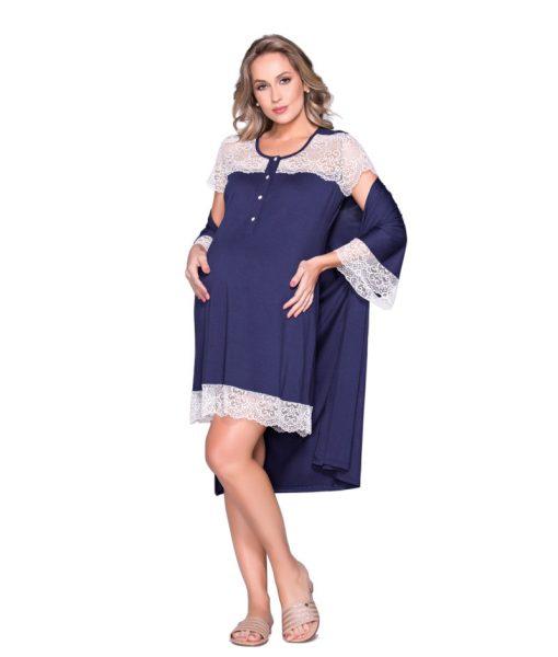 Conjunto camisola e robe gestante