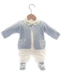 Casaco tricot e macacão menino