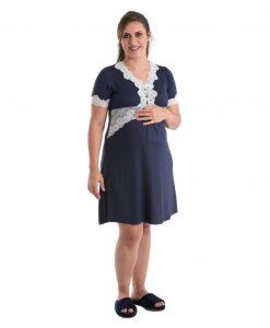 camisola com renda azul marinho