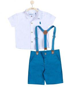 Conjunto camisa e bermuda com suspensório