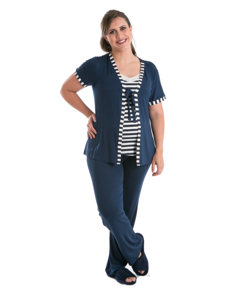 f76284507 Pijama 3 Peças Marine - Belly Home - Loja Online