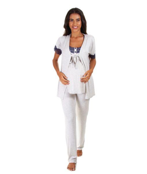 Pijama mescla com renda azul com casaquinho