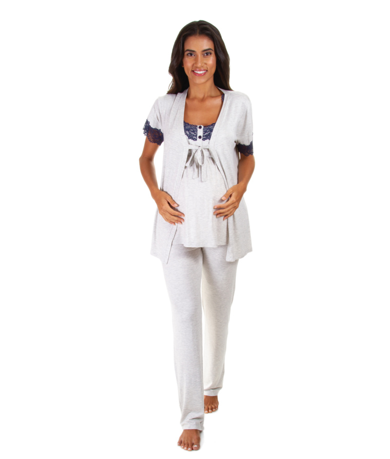 a5892b32e Pijama 3 Peças Mescla com Renda Azul - Belly Home - Loja Online