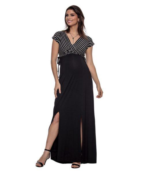 Vestido Transpassado com amarracarção gestante
