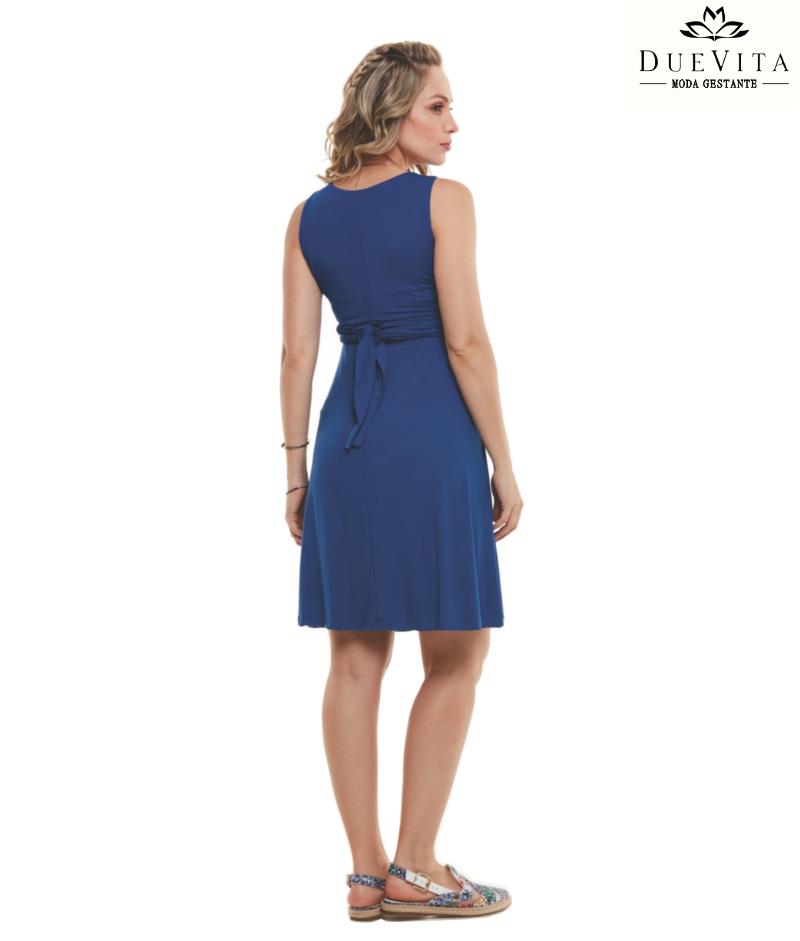 Vestido Cavado Curto Amamentação Azul Belly Home Loja Online