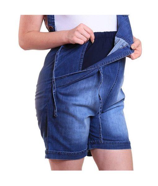 Macacão curto jeans gestante detalhe