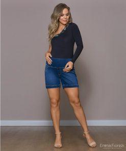 Shorts jeans com pesponto gestante