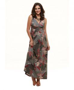 Vestido longo decote drape gestante