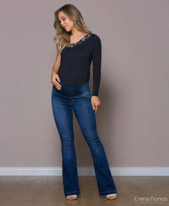 Calça Flare jeans moleton gestante