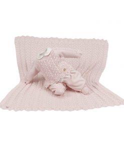 kit maternidade tricot manta e macacão alice