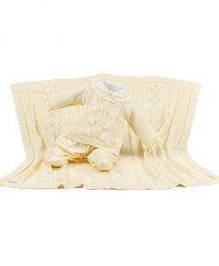 Kit maternidade tricot manta e macacão alicia amarelo