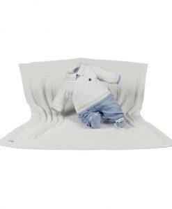 kit maternidade tricot manta e macacão henry