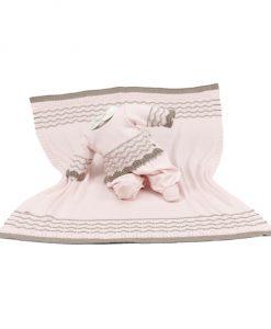 kit maternidade tricot manta e macacão laura