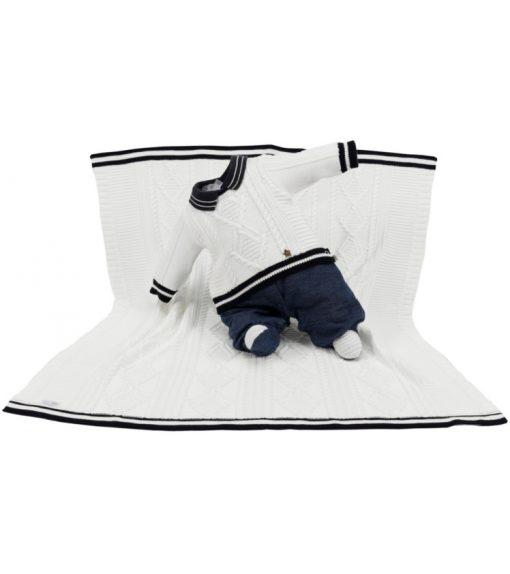 kit maternidade tricot manta e macacão miguel cru
