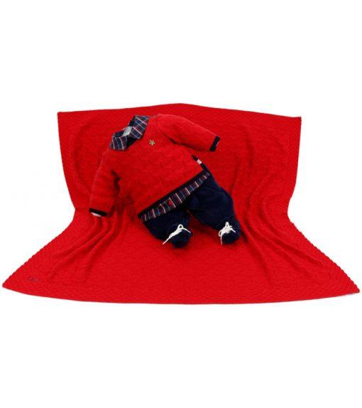 kit maternidade tricot manta e macacão murilo