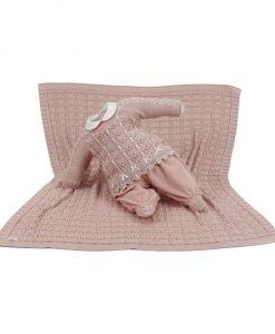 kit maternidade tricot manta e macacão sophia