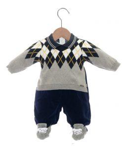 Macacão infantil tricot e plush alexandre