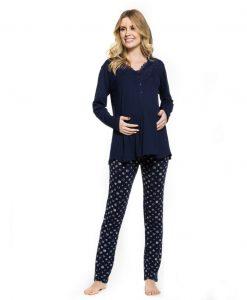 Pijama manga longa poá gestante