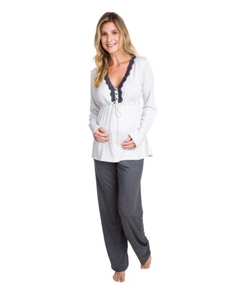 Pijama gestante manga longa mescla frente