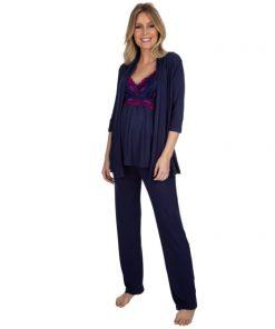 Pijama 3 peças Marinho com renda Pink amamentação