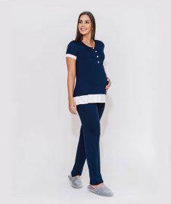 pijama marinho com detalhe em cetim