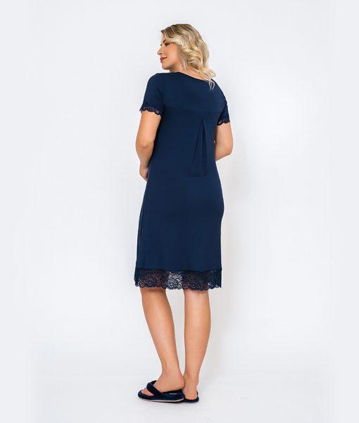 camisola com abertura e renda azul marinho costas