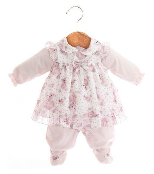 Macacão e vestido urso rosa menina