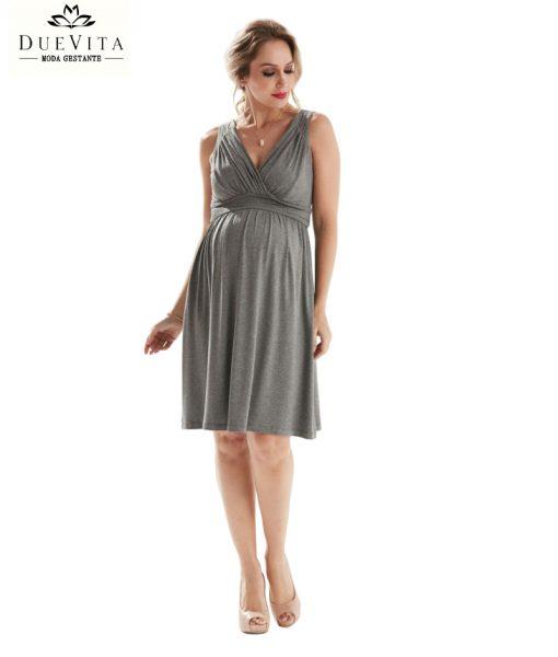 Vestido curto decote drape gestante