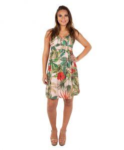Vestido curto seda floral gestante
