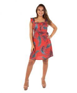 Vestido curto estampa vermelha gestante